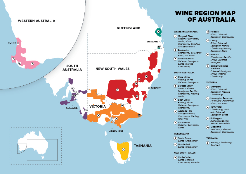 Full Map Of Australia.Wine Regions Of Australia